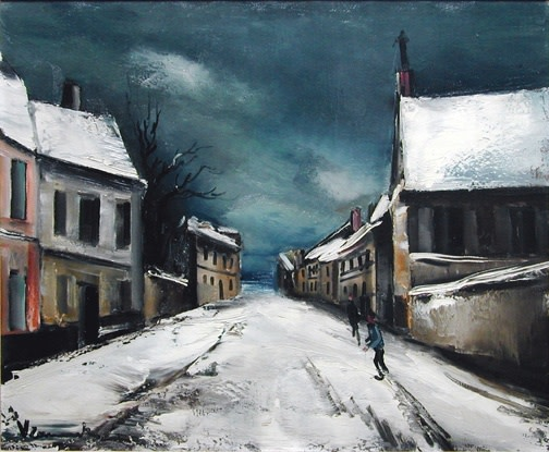 """<h3><span class=""""artist"""">MAURICE DE VLAMINCK</span></h3><p class=""""cms_gray""""><em><span class=""""title"""">Rue de village sous la neige, 1935 (circa)</span></em></p>"""