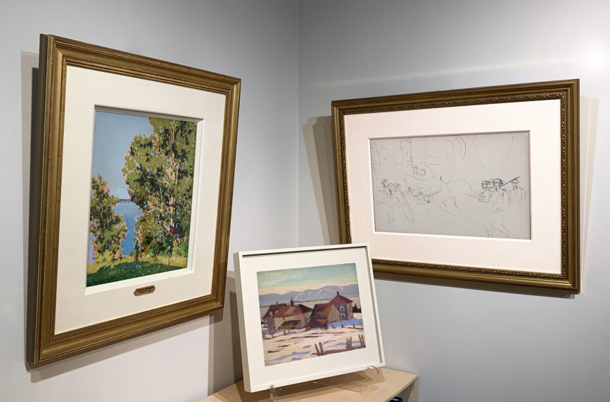 "Frank H. Johnston, Summer, Kenora, c. 1921, A.Y. Jackson, Port Joli, Que., c. 1927, and Augustus John's, Study for ""The Canadians Opposite Lens,"" c. 1917-18 hung on the walls of Alan Klinkhoff Gallery in Toronto.   All three men were commissioned war artists in World War I."