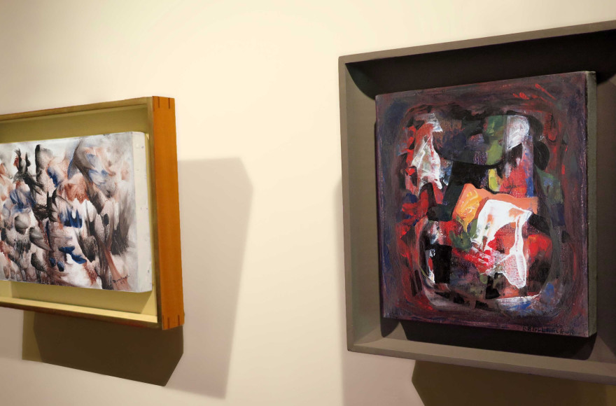 From left to right: Paul-Émile Borduas, Sans titre, 1951, oil on canvas, 7 3/4 x 12 in next to Léon Bellefleur,Dentelle à l'aube, 1953, oil on canvas, 8 1/4 x 7 1/2 in