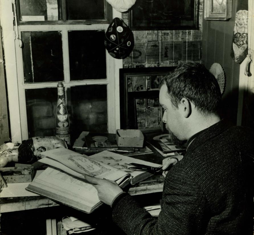 Peter Blake in his studio, 1960.