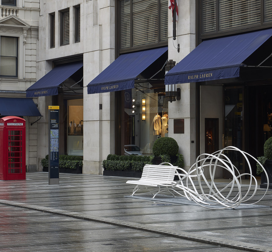Pablo Reinoso's Simple Talk on New Bond Street, Mayfair. Photograph: Barney Hindle.