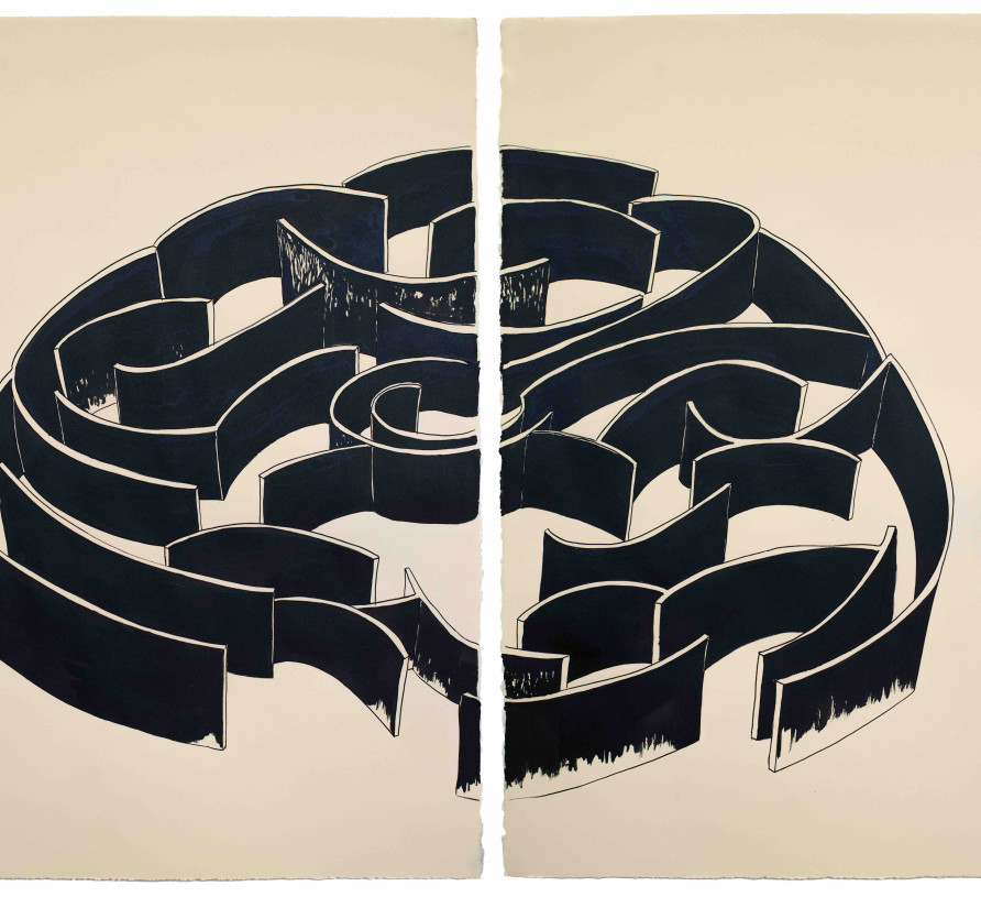 Pablo Reinoso, Labyrinthe 11, 2020, diptych, Chinese ink on paper, dimensions: 76 cm x 56 cm (unframed); 83 cm x 63 cm (framed)