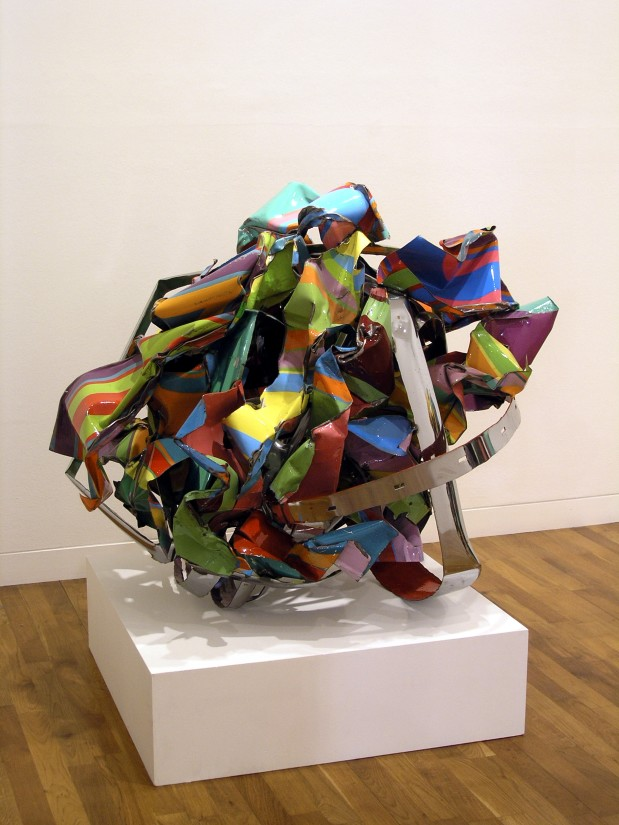 <p>John Chamberlain, Knot in the Cards, 2001</p>