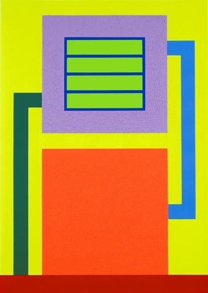 <p>Peter Halley, Dust, 2009,acrylic, Day-Glo acrylic and Roll-a-Tex on canvas,80 x 57 in/203.2 x 144.8 cm</p>