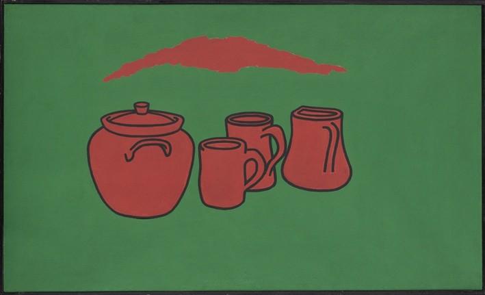 <p>Patrick Caulfield,Earthenware, 1966,oil on board,36 x 60 in/91.4 x 152.4 cm</p>