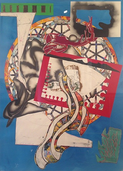 <p>Frank Stella, From 'The Waves': The Pacific, 1989,silkscreen, lithography and linoleum block with hand colouring and collage (unique),75 1/2 x 55 1/2 in/191.8 x 141 cm</p>
