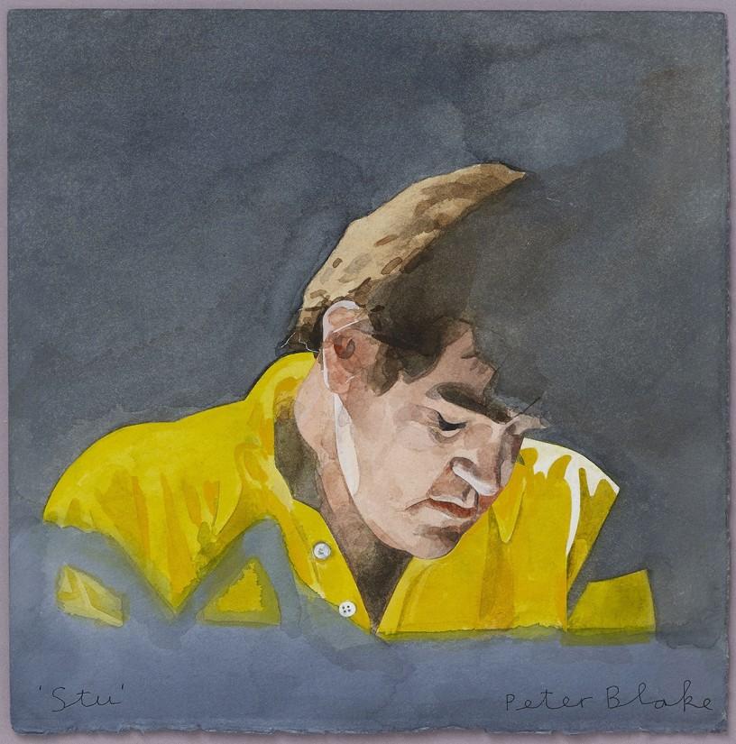 <p><span>Peter Blake, Stu, 2010,watercolour on paper,9 1/2 x 9 3/8 in /24.1 x 23.8 cm</span></p>
