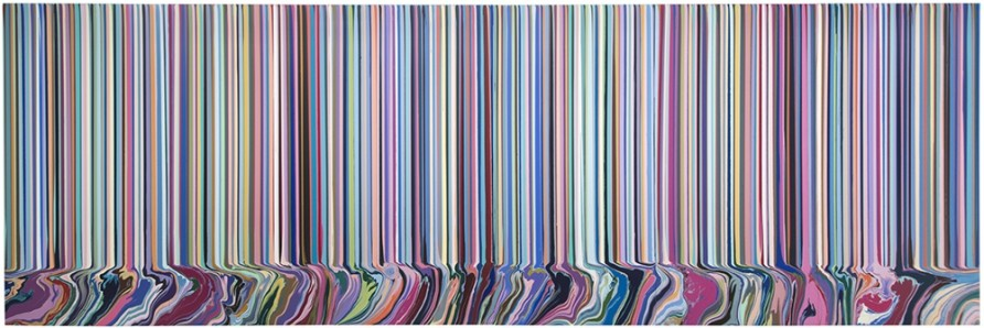 <p><span>Ian Davenport, Colourcade: Doubletake, 2015, acrylic on stainless steel mounted on aluminium (6 panels), 78 3/4 x 236 1/4 in / 200 x 600 cm</span></p>