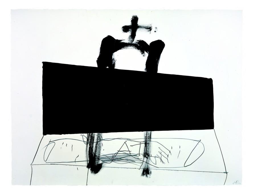 <p><span>Antoni T</span><span>à</span><span>pies,</span><span>Quadrilàter negre / Black square, 1999,</span><span>Paint and pencil on paper,</span><span>48 x 63 in /</span><span>122 x 160 cm</span></p>