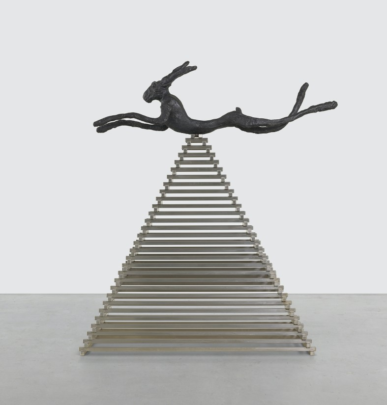 "<p class=""p1""><span class=""s1"">Barry Flanagan, <i>Hells Bells</i>, 2005, bronze on steel base, 242 x 220 x 67 cm.</span></p>"
