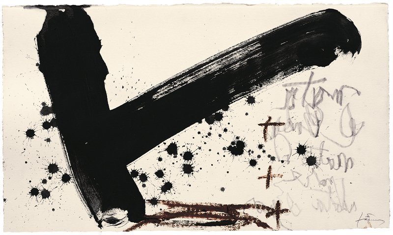 <strong>Antoni Tàpies</strong>, <em>T, taques i escrit (T, spots and writing)</em>, 2004