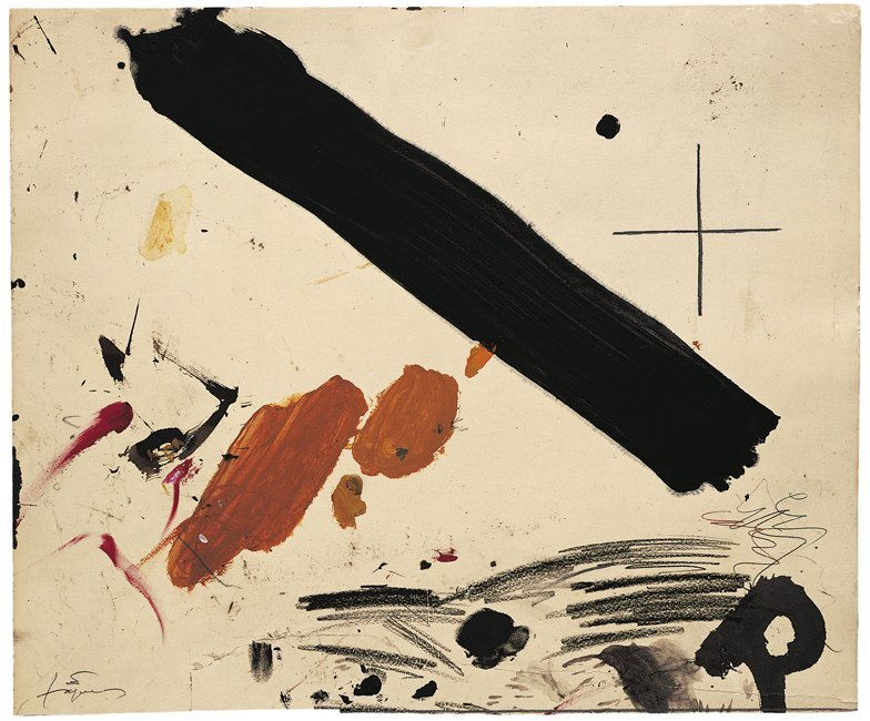 <strong>Antoni Tàpies</strong>, <em>Franja negra i taques / Black stripe and spots</em>, 2004