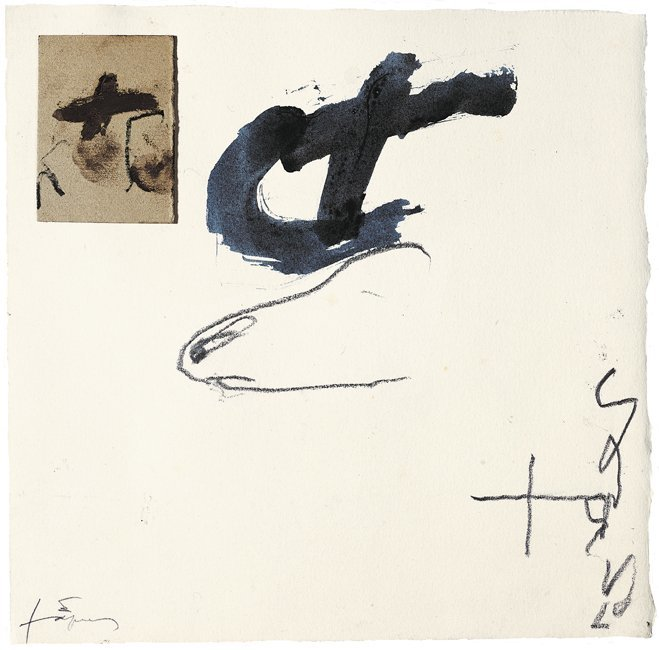 <strong>Antoni Tàpies</strong>, <em>Collage i silueta (Collage and silhouette)</em>, 2004