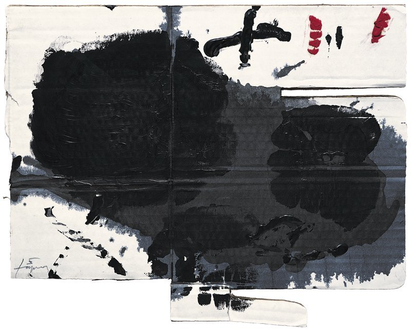 <strong>Antoni Tàpies</strong>, <em>Taca i creu sobre cartò (Spot and cross on cardboard)</em>, 2004