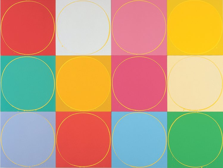 Untitled Circle Painting: 12 multicoloured panels, no.2
