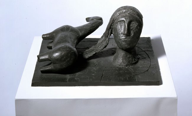 <strong>Mimmo Paladino</strong>, <em>Testa su Base con Numeri e Cavallo Disteso</em>, 1999