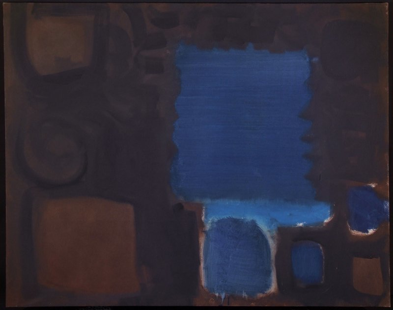 Serrated Blue Square in Brown Ground : July 1959
