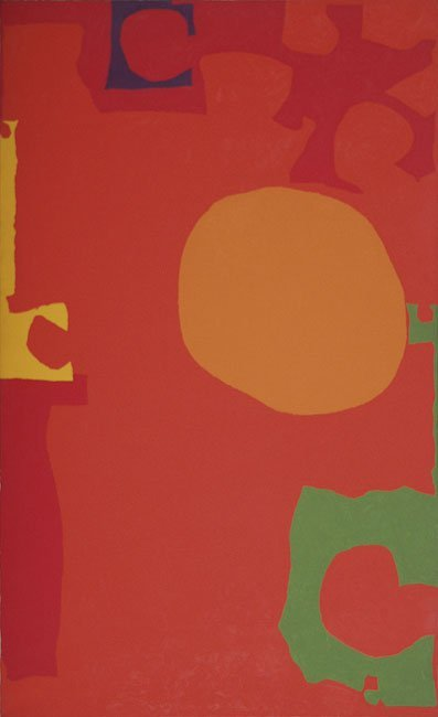 Rumbold Vertical Three : Orange Disc in Scarlet with Green : July 1970