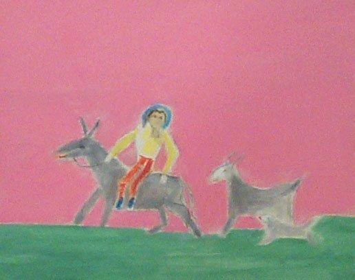 <strong>Craigie Aitchison</strong>, <em>Rider, Donkey and Goat Montecastelli (T002268)</em>, 2001