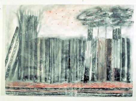 <strong>fausto Melotti</strong>, <em>Tizzoni di bambù scoppiano in aria rallegrando la notte all'incendiario / Bamboo firebrands burst in</em>, 1977