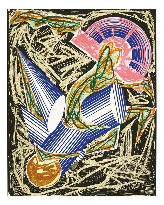 """<span class=""""artist""""><strong>Frank Stella</strong></span>, <span class=""""title""""><em>Illustrations after El Lissitzky's 'Had Gadya': A. Had Gadya: Front cover</em>, 1985</span>"""