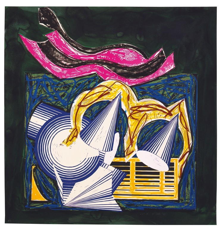 """<span class=""""artist""""><strong>Frank Stella</strong></span>, <span class=""""title""""><em>Illustrations after El Lissitzky's 'Had Gadya': 1. One small goat papa bought for two zuzim</em>, 1985</span>"""