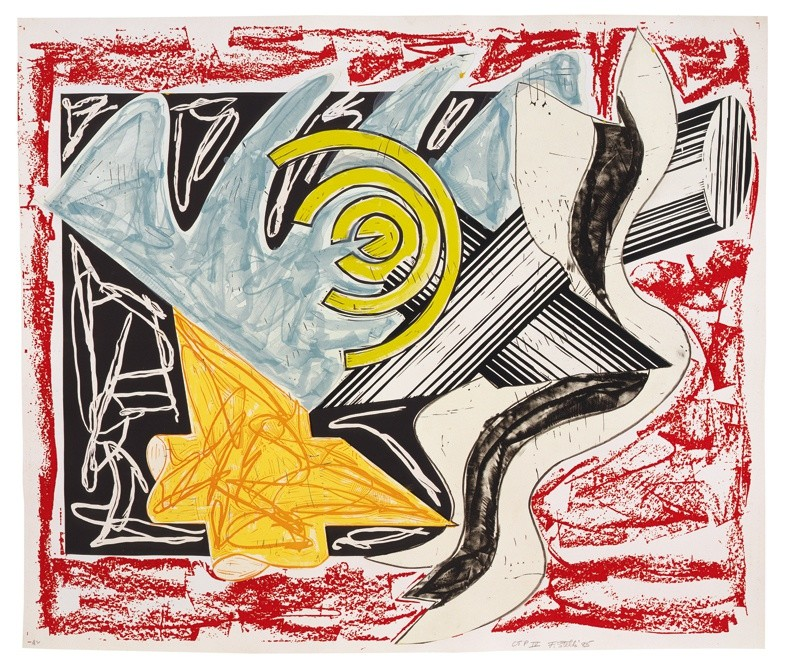 """<span class=""""artist""""><strong>Frank Stella</strong></span>, <span class=""""title""""><em>Illustrations after El Lissitzky's 'Had Gadya': 2. A hungry cat ate up the goat</em>, 1985</span>"""