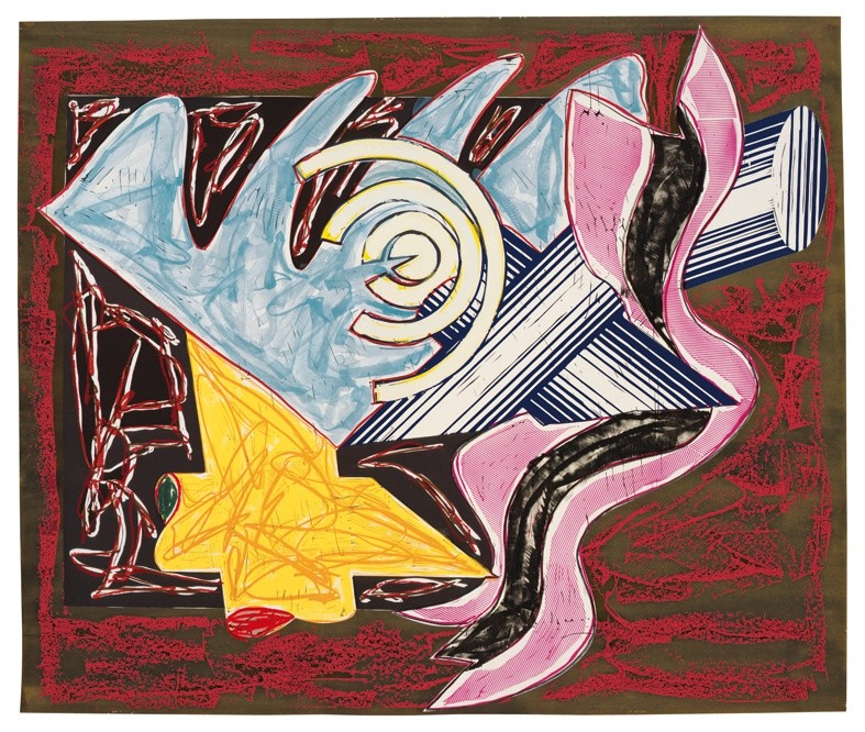 "<span class=""artist""><strong>Frank Stella</strong></span>, <span class=""title""><em>Illustrations after El Lissitzky's 'Had Gadya': 2. A hungry cat ate up the goat</em>, 1985</span>"