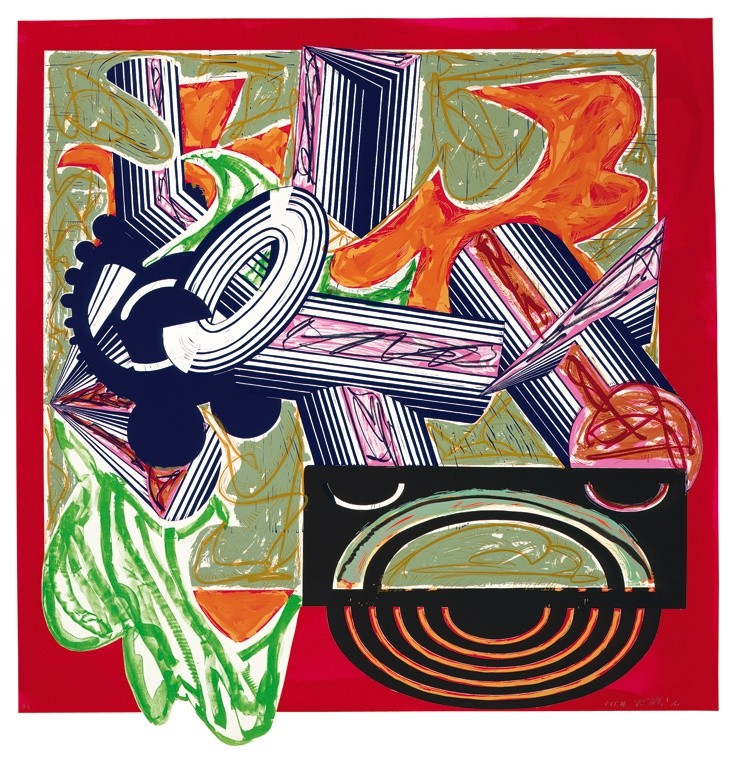 "<span class=""artist""><strong>Frank Stella</strong></span>, <span class=""title""><em>Illustrations after El Lissitzky's 'Had Gadya': 3. Then came a dog and bit the cat</em>, 1985</span>"