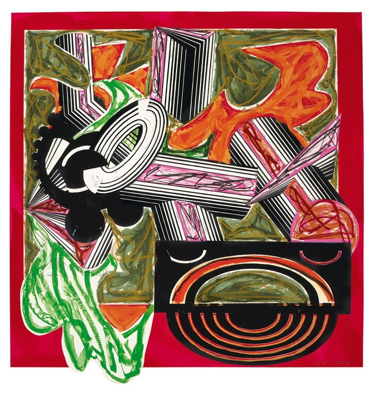 """<span class=""""artist""""><strong>Frank Stella</strong></span>, <span class=""""title""""><em>Illustrations after El Lissitzky's 'Had Gadya': 3. Then came a dog and bit the cat</em>, 1985</span>"""
