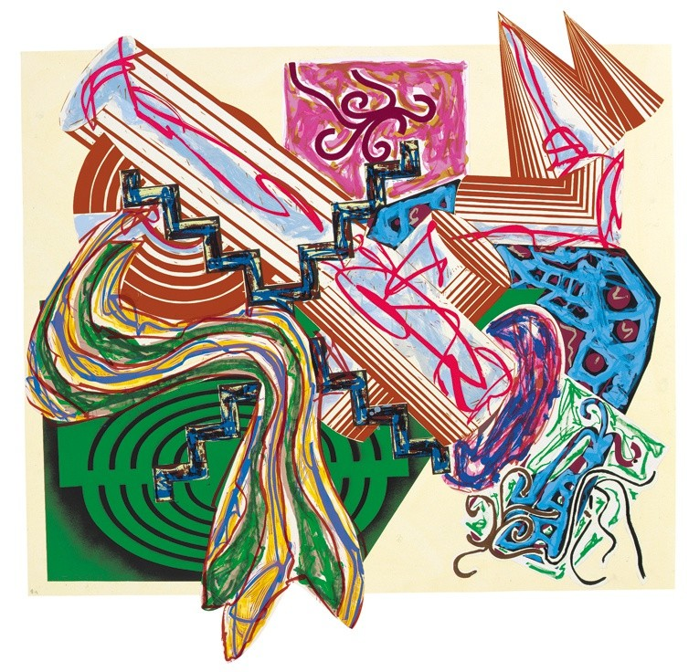 """<span class=""""artist""""><strong>Frank Stella</strong></span>, <span class=""""title""""><em>Illustrations after El Lissitzky's 'Had Gadya': 4. Then came a stick and beat the dog</em>, 1985</span>"""