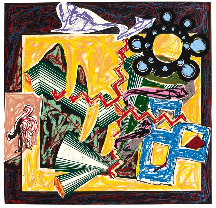 """<span class=""""artist""""><strong>Frank Stella</strong></span>, <span class=""""title""""><em>Illustrations after El Lissitzky's 'Had Gadya': 5. Then came a fire and burnt the stick</em>, 1985</span>"""