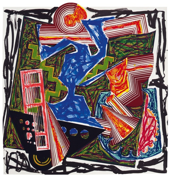 """<span class=""""artist""""><strong>Frank Stella</strong></span>, <span class=""""title""""><em>Illustrations after El Lissitzky's 'Had Gadya': 6. Then water came and quenched the fire</em>, 1985</span>"""