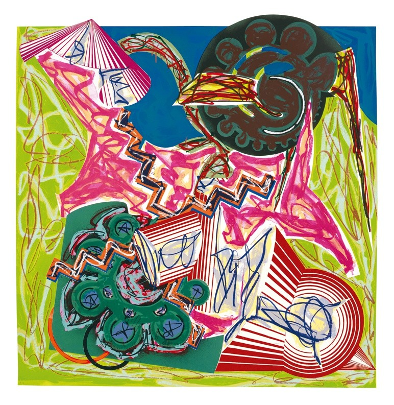 "<span class=""artist""><strong>Frank Stella</strong></span>, <span class=""title""><em>Illustrations after El Lissitzky's 'Had Gadya': 7. Then came an ox and drank the water</em>, 1985</span>"