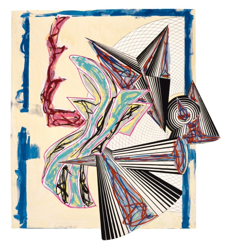 """<span class=""""artist""""><strong>Frank Stella</strong></span>, <span class=""""title""""><em>Illustrations after El Lissitzky's 'Had Gadya': 9. Then came death and took the butcher</em>, 1985</span>"""