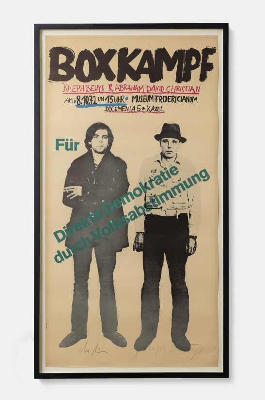 """<p><span class=""""artist""""><strong>Joseph Beuys</strong></span>, <span class=""""title""""><em>Poster for Beuys boxt für direkte Demokratie (Beuys Boxes for Direct Democracy)</em>, 1972</span></p>"""