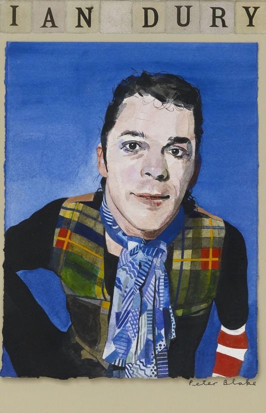 "<span class=""artist""><strong>Peter Blake</strong></span>, <span class=""title""><em>Ian Dury</em>, 1980</span>"