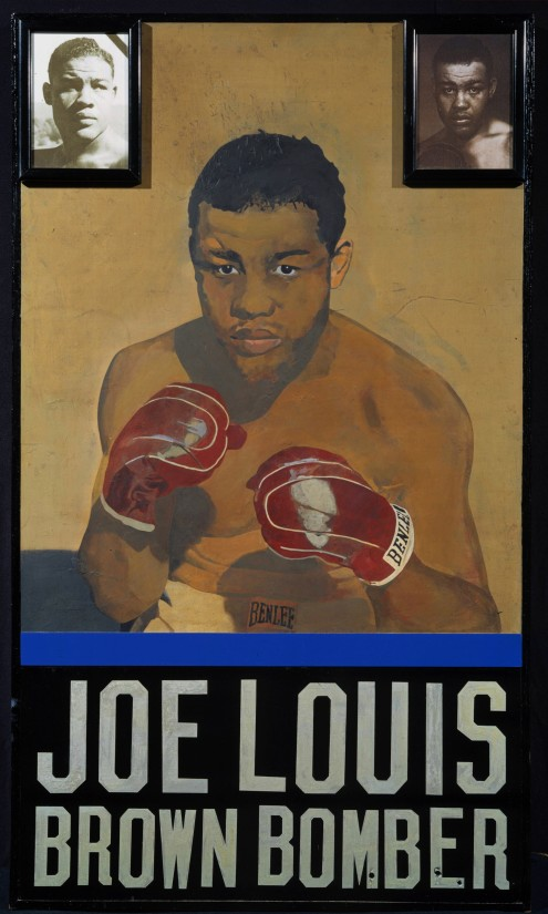 "<span class=""artist""><strong>Peter Blake</strong></span>, <span class=""title""><em>Joe Louis, Brown Bomber </em>, 1999</span>"