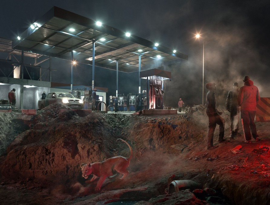 """<span class=""""artist""""><strong>Nick Brandt</strong></span>, <span class=""""title""""><em>Petrol Station with Lioness</em>, 2018</span>"""