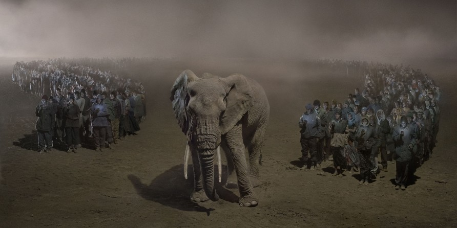<span class=&#34;artist&#34;><strong>Nick Brandt</strong></span>, <span class=&#34;title&#34;><em>River of People with Elephant at Night </em>, 2018</span>