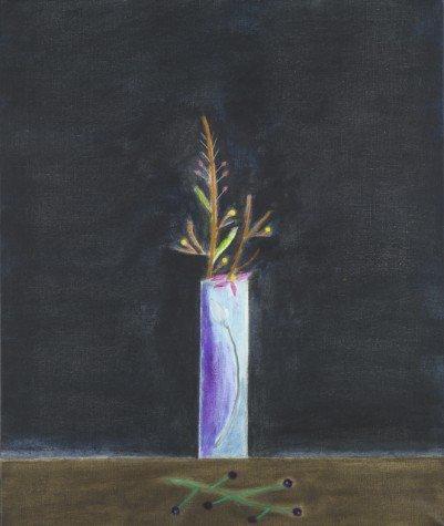 <strong>Craigie Aitchison</strong>, <em>Blue Vase and Mimosa Still-Life</em>, 2001