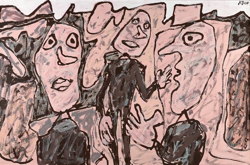 <strong>Jean Dubuffet</strong>, <em>Paysage rose avec 3 personnages vêtus de noir (T 21) 15 juin 1975</em>, 1975