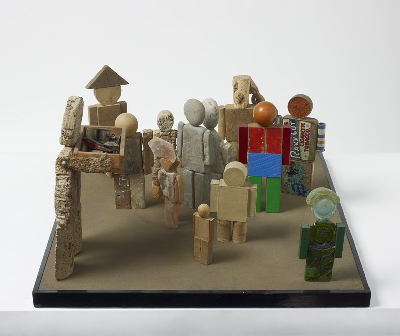 <strong>Peter Blake</strong>, <em>A Man Selling Musical Instruments to Members of Minority Groups (from Incidents from a Sculpture...)</em>, 1983