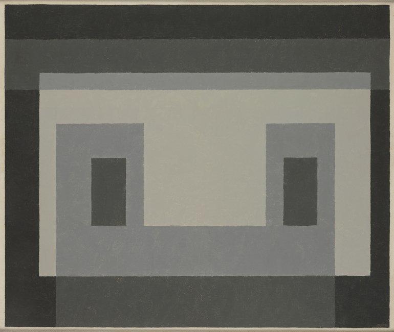 <strong>Josef Albers</strong>, <em>Variant / Adobe: ''Gray Facade'' (JAAF 1976.1.1113)</em>, 1947-54