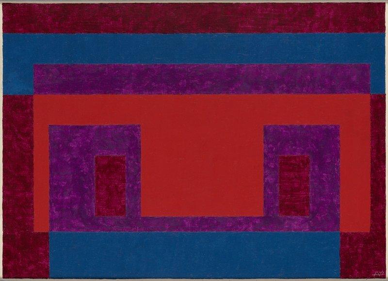 <strong>Josef Albers</strong>, <em>Variant / Adobe: ''Red, Blue, Violet around Light Red''</em>, 1947