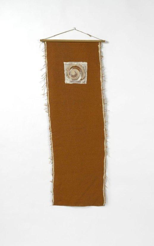 <strong>Barry Flanagan</strong>, <em>Untitled (orange wall hanging)</em>, 1973