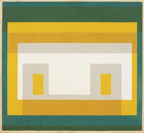 <strong>Josef Albers</strong>, <em>Variant: 'White and Gray with Two Yellows and Two Greens'</em>, 1947-1955