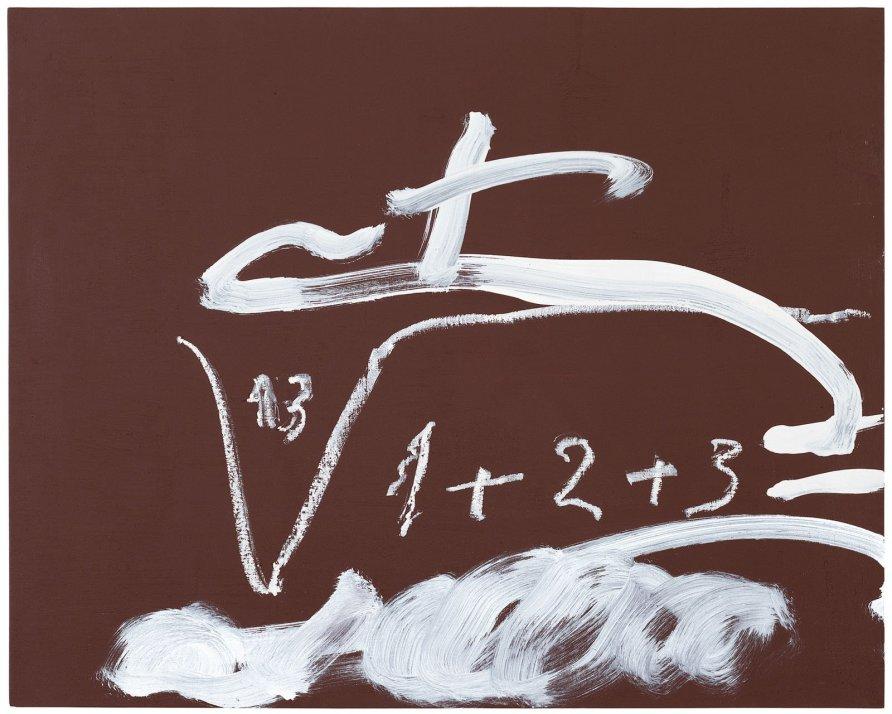 <strong>Antoni Tàpies</strong>, <em>Signes sobre marró (Signs on brown)</em>, 2009