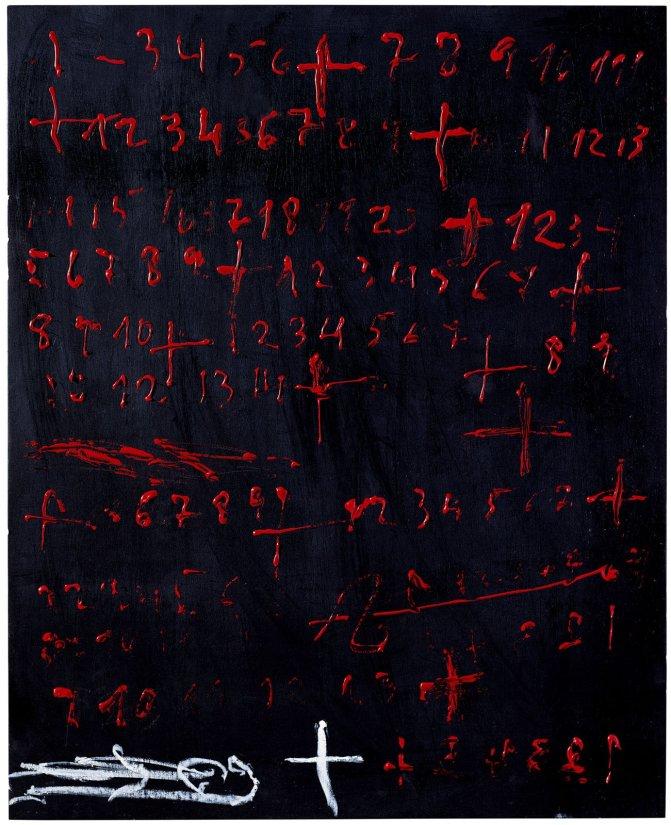 <strong>Antoni Tàpies</strong>, <em>Xifres vermelles (Red figures)</em>, 2009