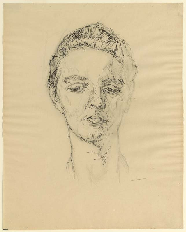 <strong>Josef Albers</strong>, <em>Female Head Glancing Down</em>, c.1918